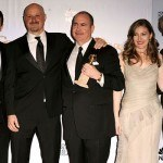 Actor Mark Wahlberg (2nd L), producer Terence Winter (3rd R), ac